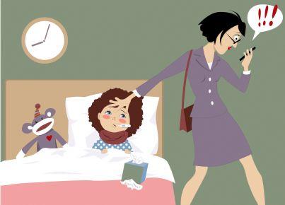 mamma che si organizza al telefono per lasciare figlia ammalata quando va a lavoro