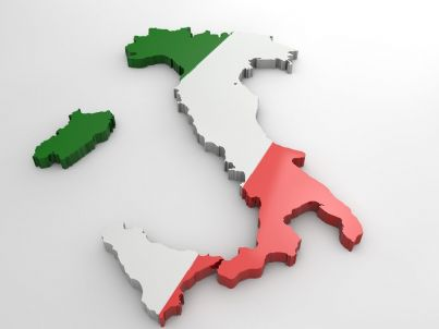 mappa Italia con colori bandiera