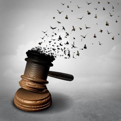 martello con uccelli liberi metafora di giustizia