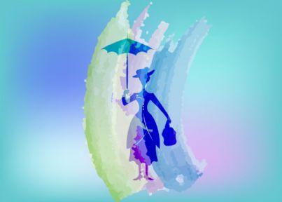 concetto di babysitter con silhouette di Mary Poppins