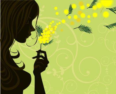donna che soffia su mimosa festa 8 marzo