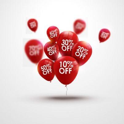 palloncini con percentuale di sconto