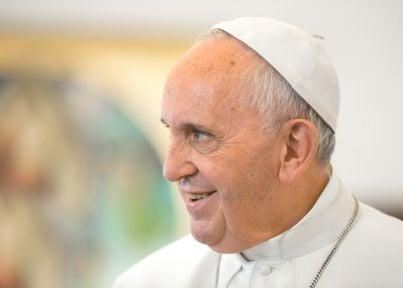 primo piano del pontefice Francesco Bergoglio
