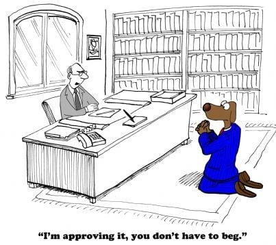 cane vestito da dipendente che prega uomo datore di lavoro