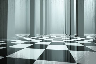 pavimento di scacchi e colonne