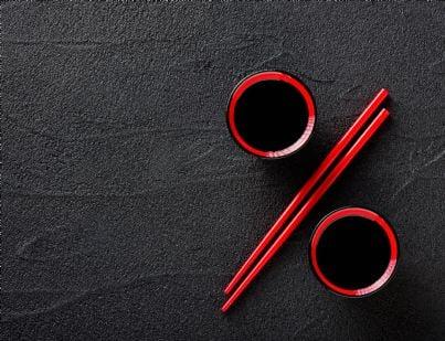 bacchette disposte per rappresentare simbolo percentuale