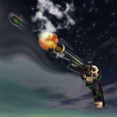 pistola che spara con scia proiettile