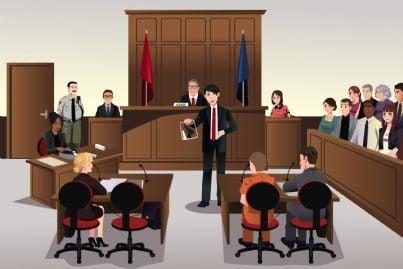 Vignetta raffigurante un processo penale