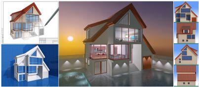 progetto in 3d che fa vedere tutte le parti di una casa
