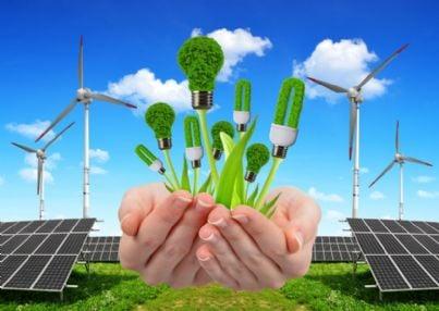 mano con lampadine rinnovabili