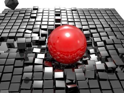 una sfera che rompe un tavolo concetto di danni