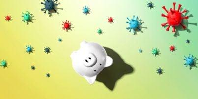 salvadanaio vuoto in mezzo ai batteri del coronavirus