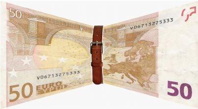 Banconota stretta con cintura simbolo risparmio