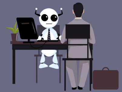 robot che fa colloquio di lavoro
