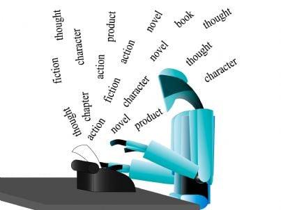 robot che scrive a macchina