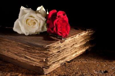 rose su un antico libro medievale