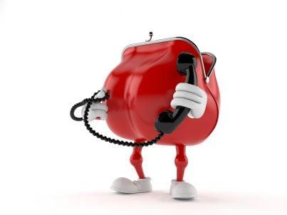 borsellino a forma di telefono per risparmio