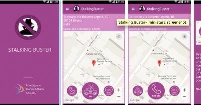 screenshot di applicazione stalking buster