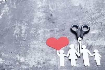 forbice che divide cuore e famiglia per divorzio