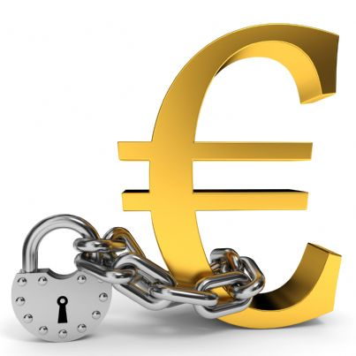 simbolo euro con catena evoca concetto sequestro