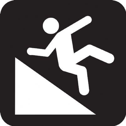 Simbolo pedone che cade su una strada in discesa