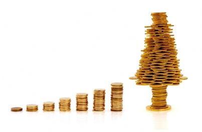 soldi in regalo a forma di albero di natale