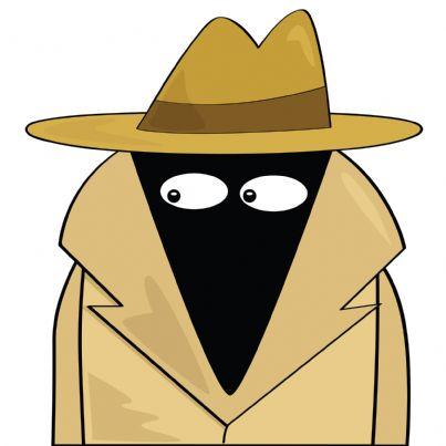 fumetto di una spia che indossa cappello e impermeabile