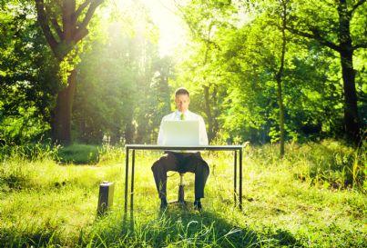 uomo con ufficio nella foresta concetto di green