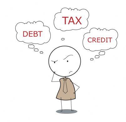 vignetta con omino in dubbio tra tasse e debiti