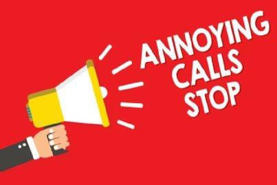 cartello di stop a telefonate indesiderate