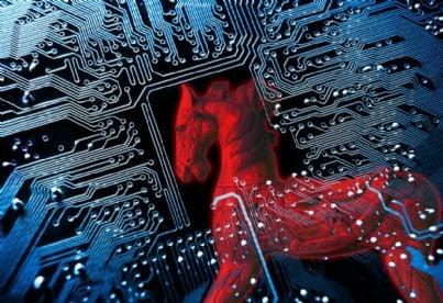 trojan horse in un circuito concetto di virus informatico