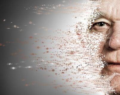 uomo anziano con volto che si sfigura per malattia