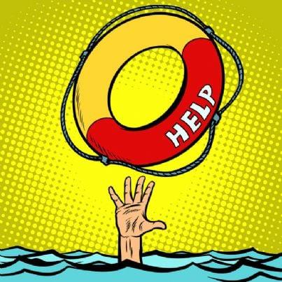 vignetta con mano che chiede aiuto e salvagente