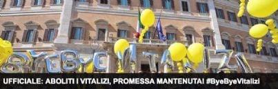 festa del M5S a Montecitorio per addio a vitalizi